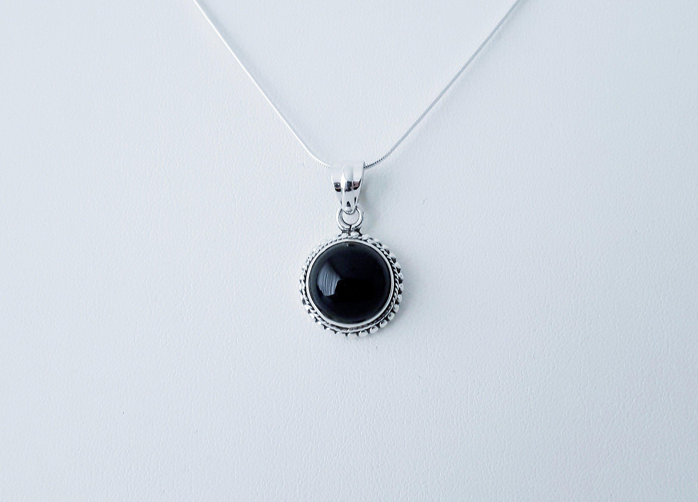 Zilveren hanger met zwarte onyx