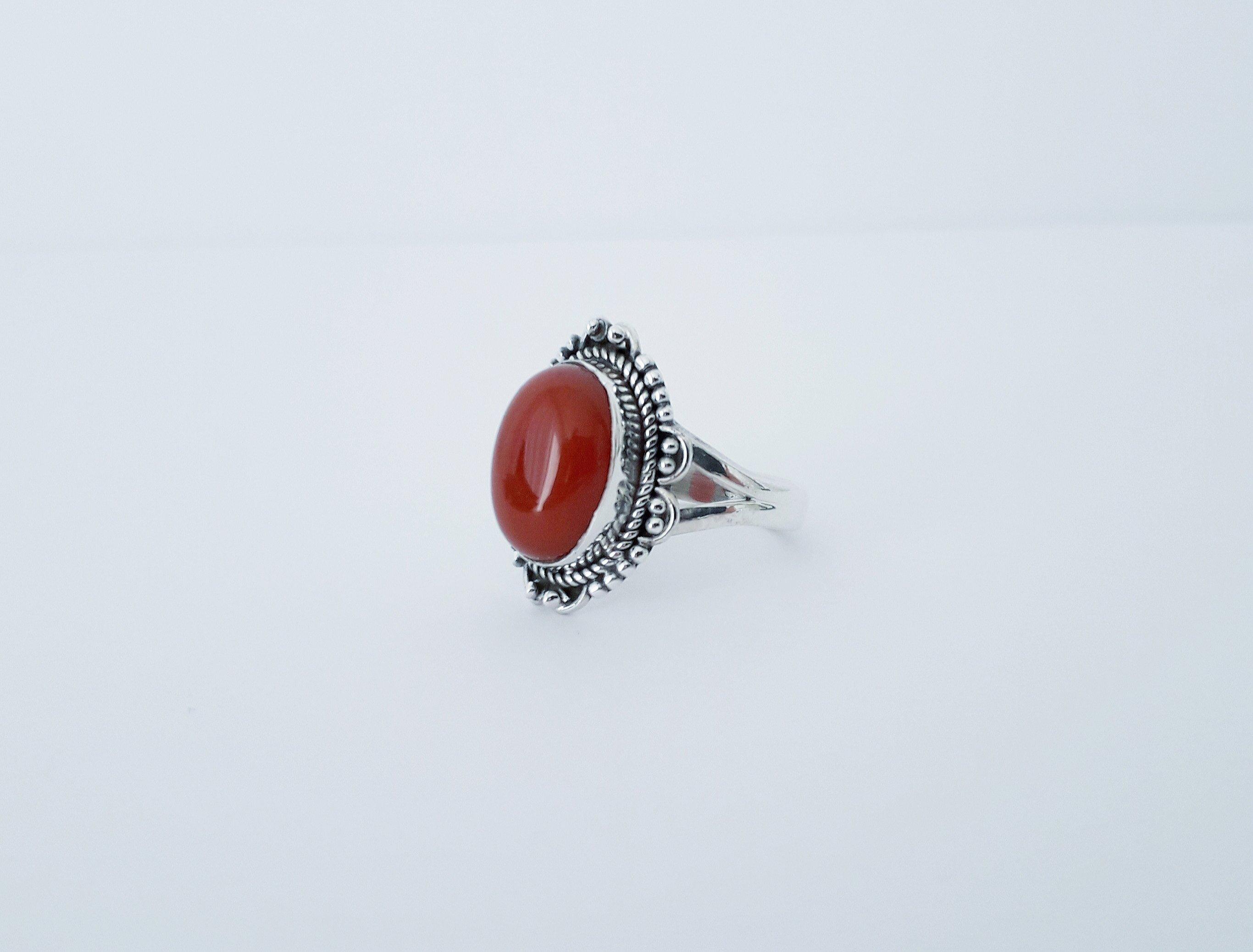 Zilveren ring met carneool