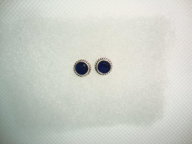 Zilveren oorstekers met blauwe agaat