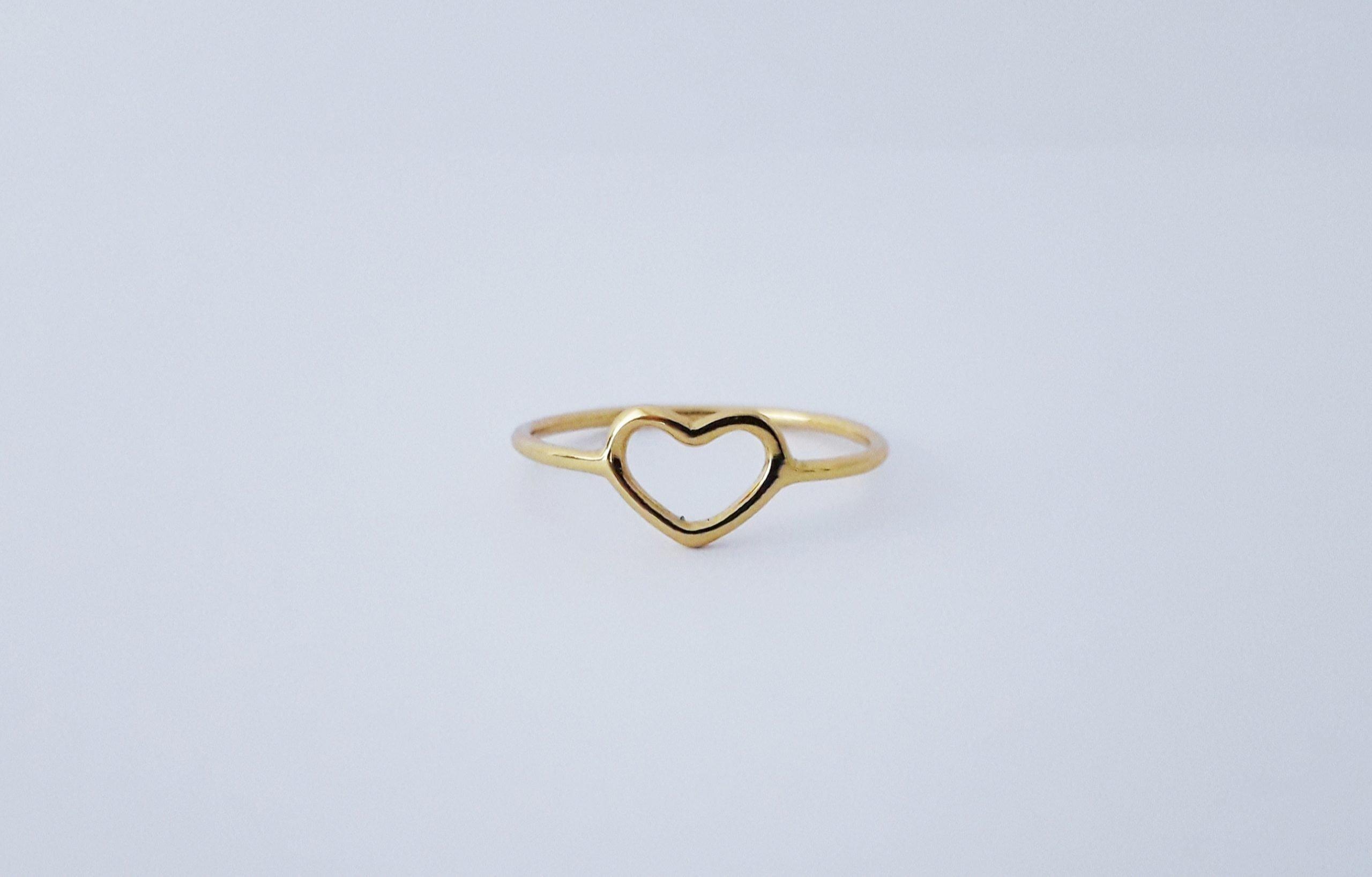 Vergulde hartjes ring