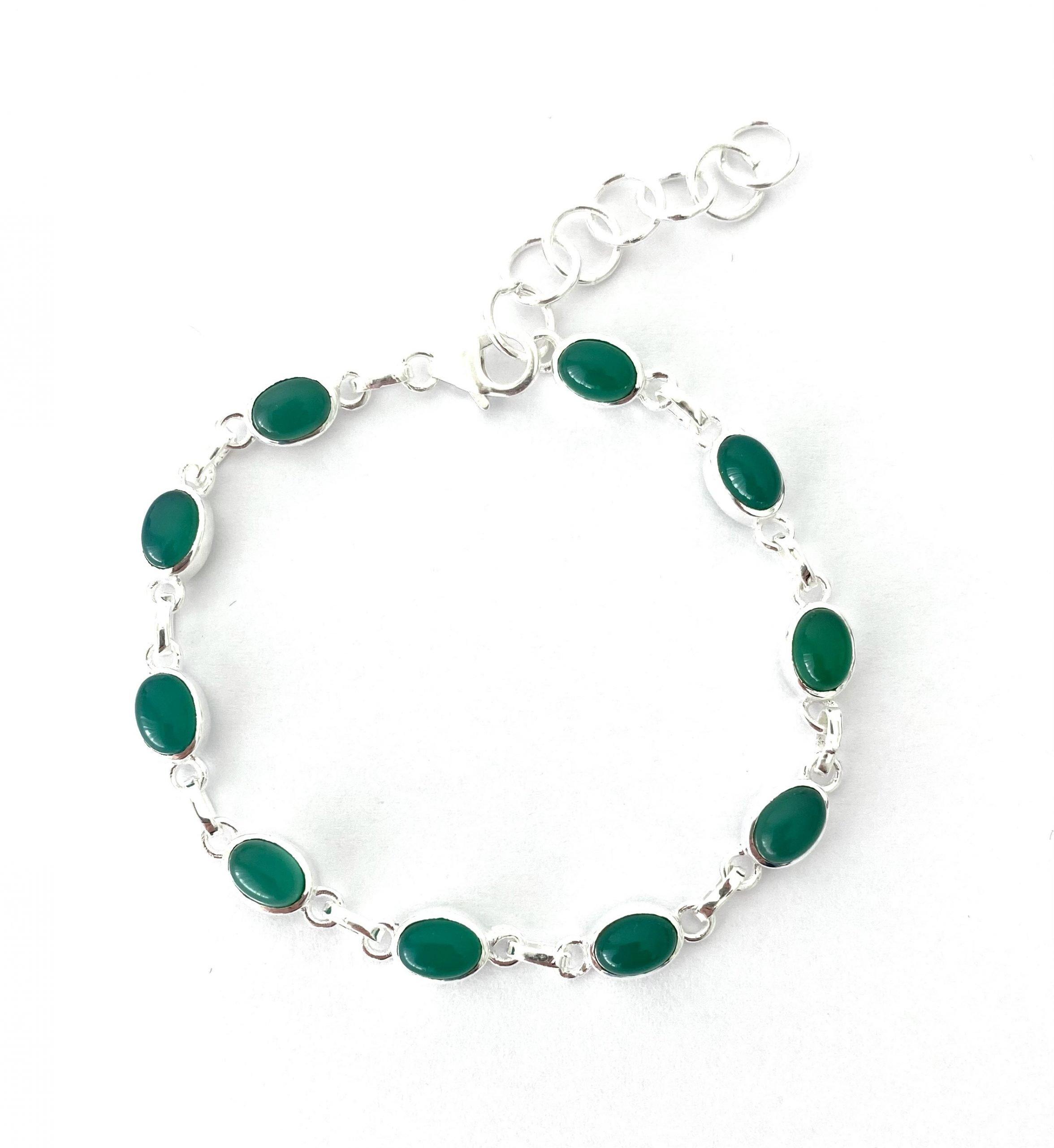 Zilveren armband met groene agaat