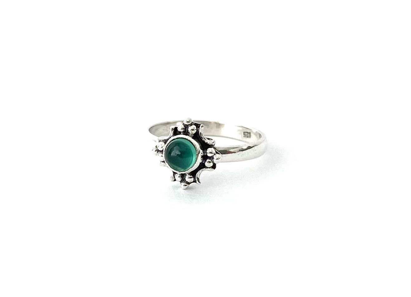 Zilveren ring met groene agaat