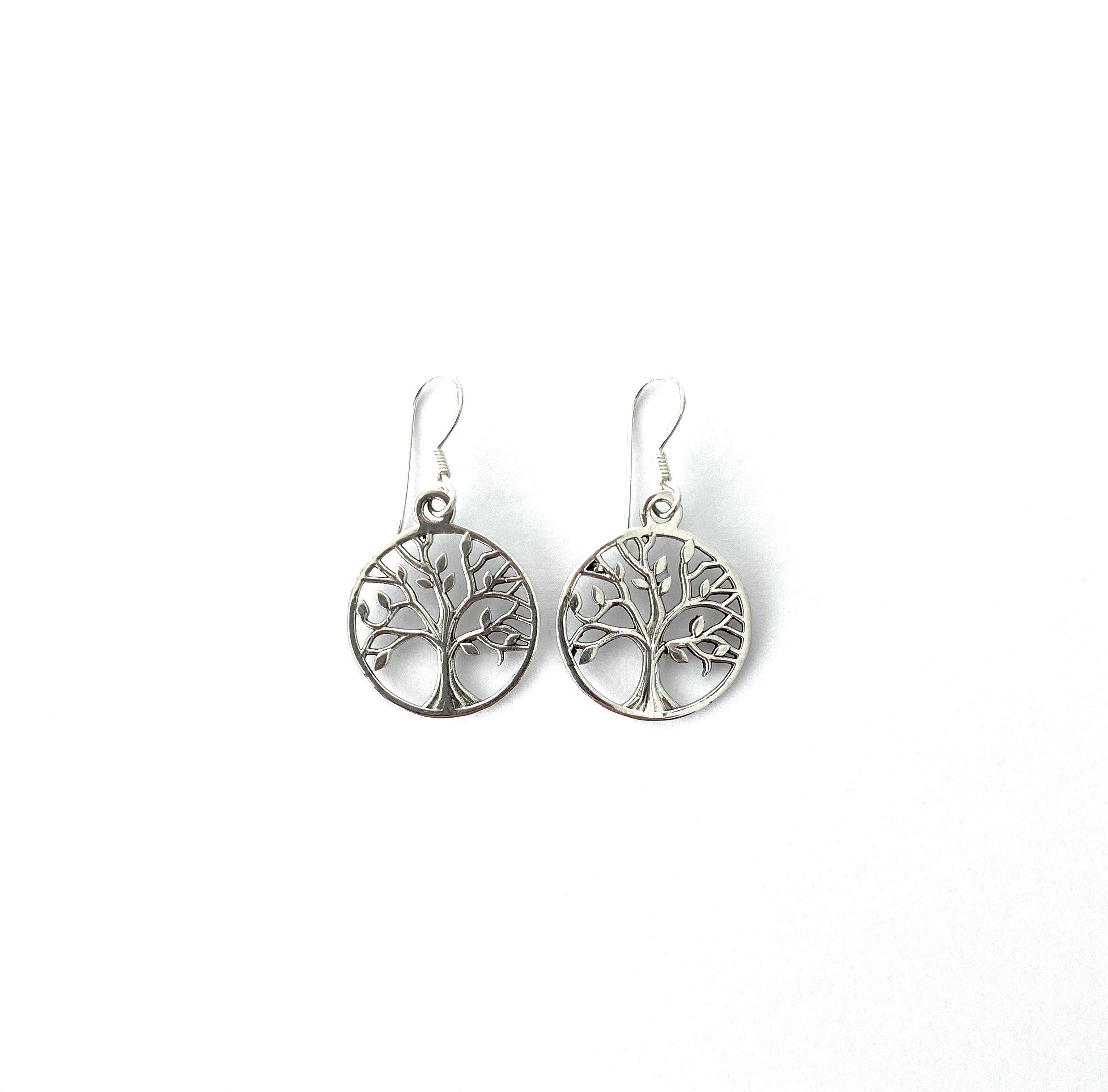Zilveren levensboom oorbellen